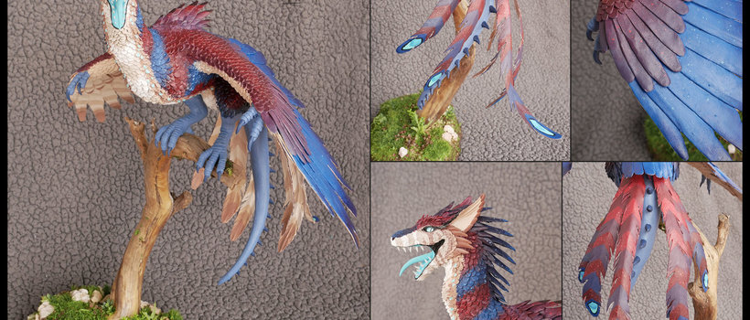 Terror of the Night sculpture dragon traditional bird
