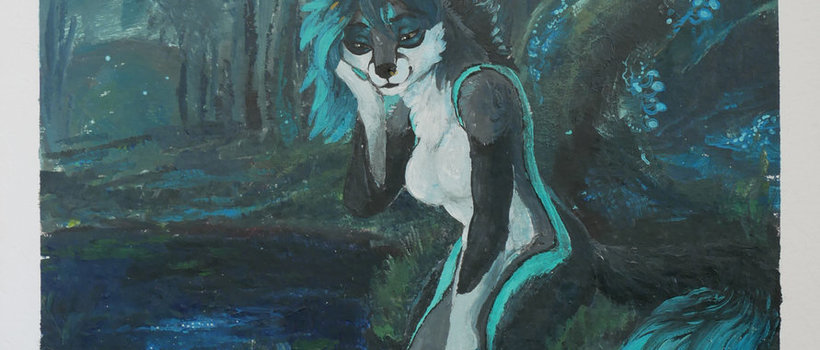 speedpaint commission @dhewolf painting speedpainting wolf furry anthropomorphic forest bioluminescent