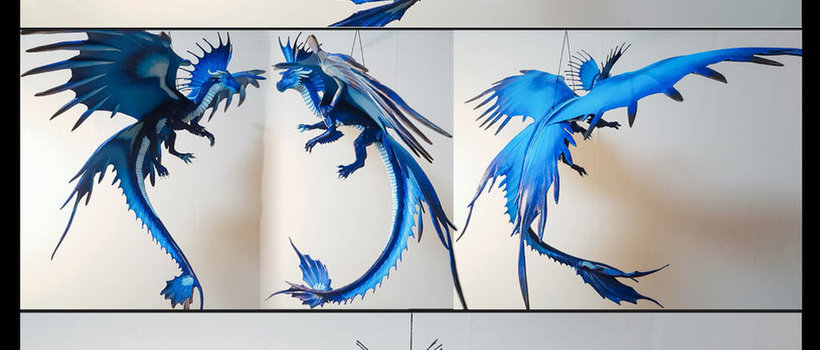 Blue Drgon sculpture dragon