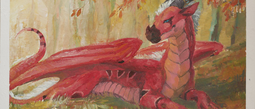 speedpainting commission Solus dragon forest painting speedpainting acrylic commission