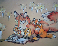 TraditionalArt Drawings fox family story.jpg