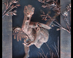 TraditionalArt Relief paintings  raptor painting 3d dinosaur