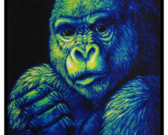 TraditionalArt Scratchboard painting gorilla