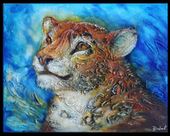 TraditionalArt Relief paintings  leopard painting reliefe
