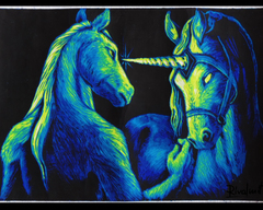 TraditionalArt Scratchboard painting unicorn horse anthro