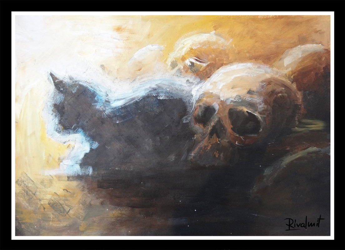 painting acrylic cat skull death leeping with skulls
