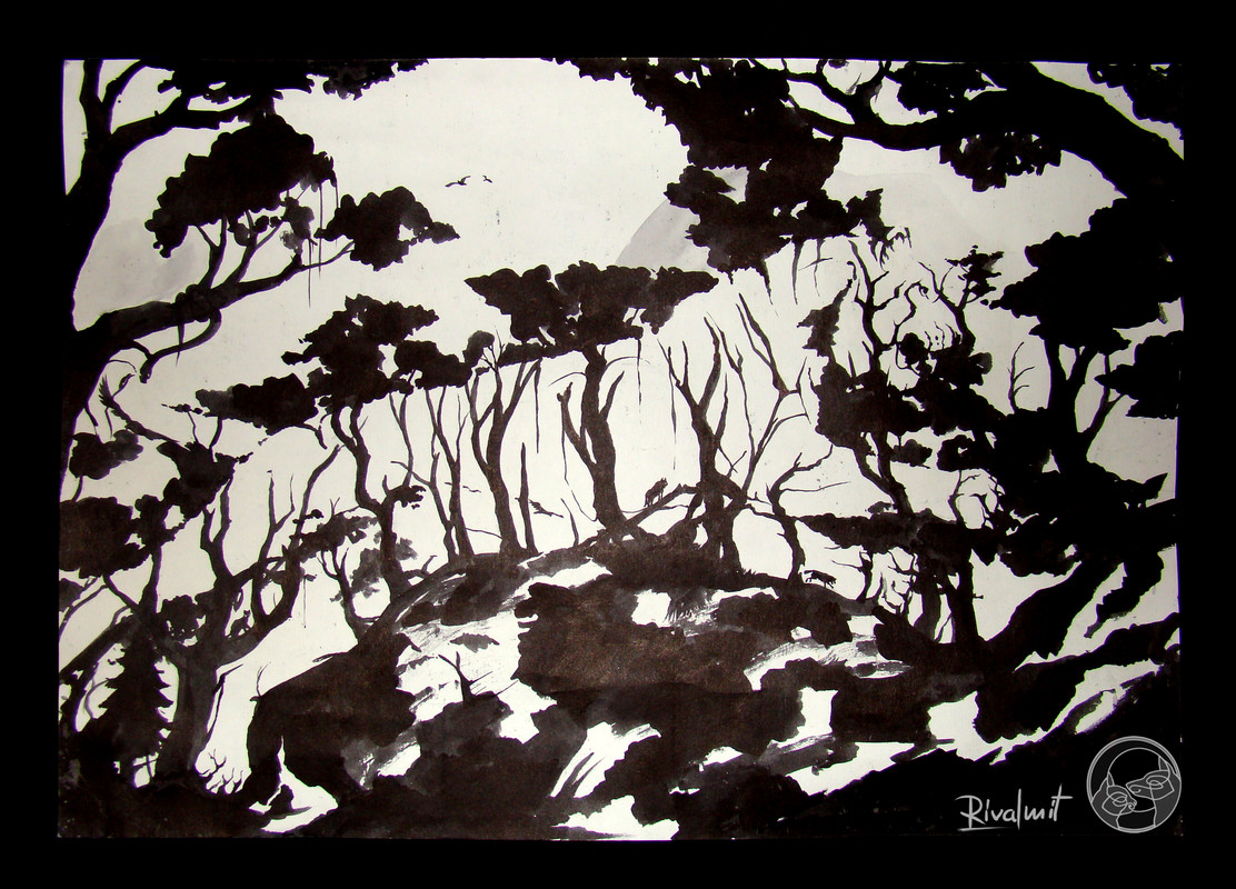 tiger drawing forest black&white negative space Do you see it?