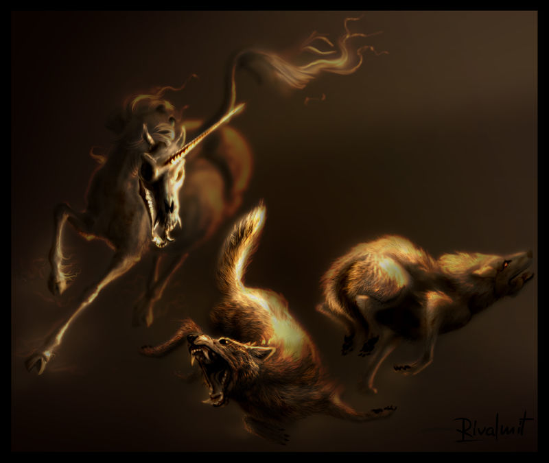 canid wolf unicorn nightmare horror digital painting equine fear Digital Drawings Horror of beauty Digital Drawings