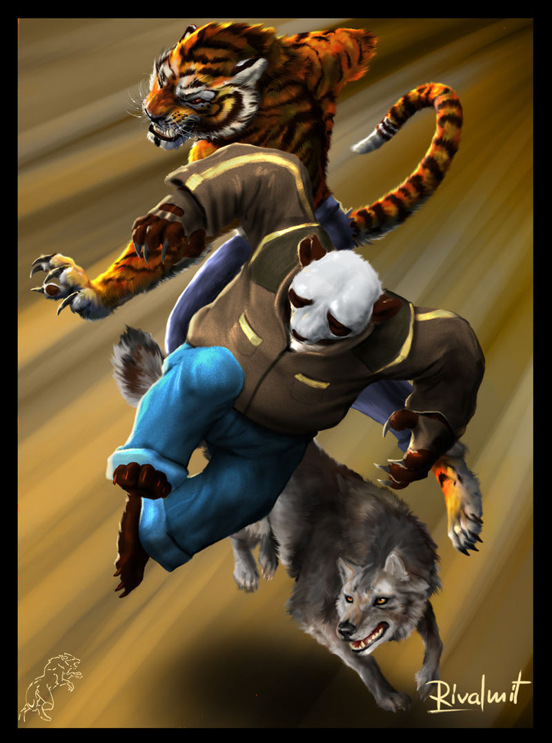 digital digital drawing panda tiger wolf Digital Drawings Street fighters  Digital Drawings