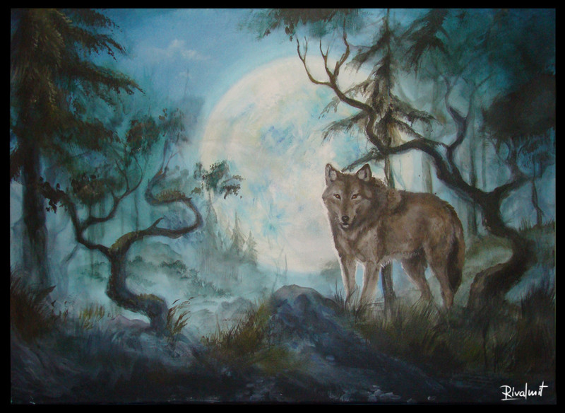wolf canid moon forest canvas acrylic painting Paintings Wolf Paintings