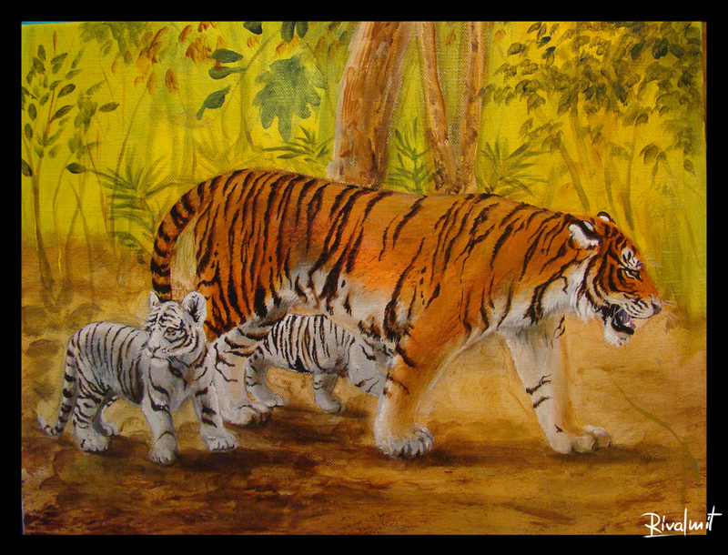 white tiger cubs mother jungle painting canvas acrylic Paintings Tigers family Paintings