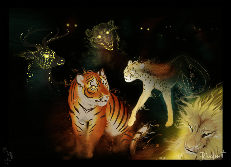 tiger lion cheetah bear deer digital digital drawing Digital Drawings  Spirit gathering Digital Drawings