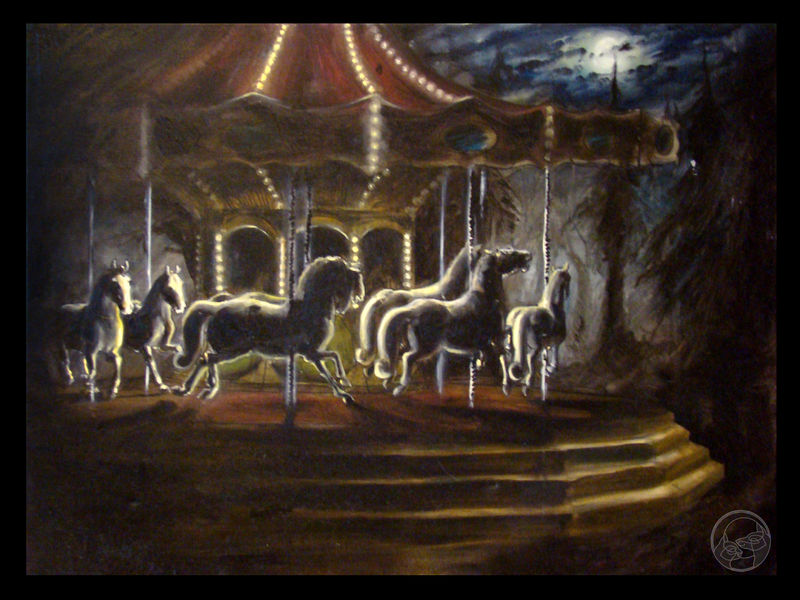 painting oil painting horse Paintings Carnival ride Paintings