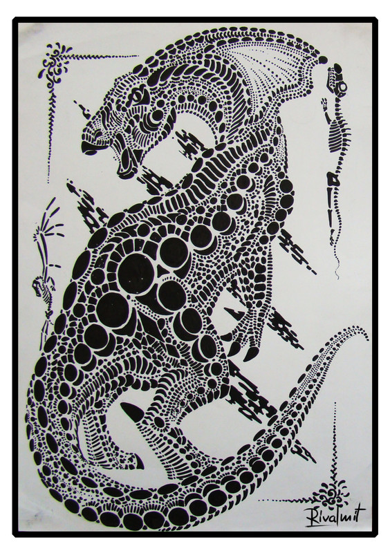 drawing cat dinosaur black&white markers Dots