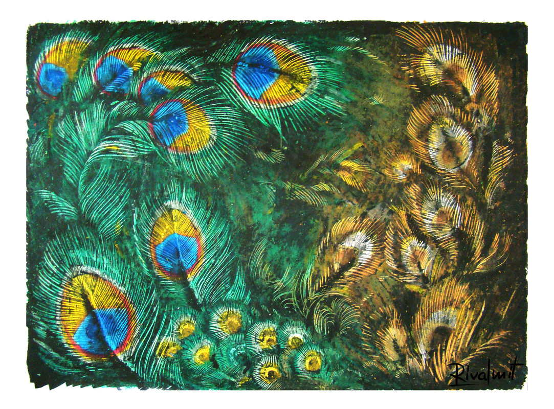 painting acrylic crayons peacock feather Blue beauty