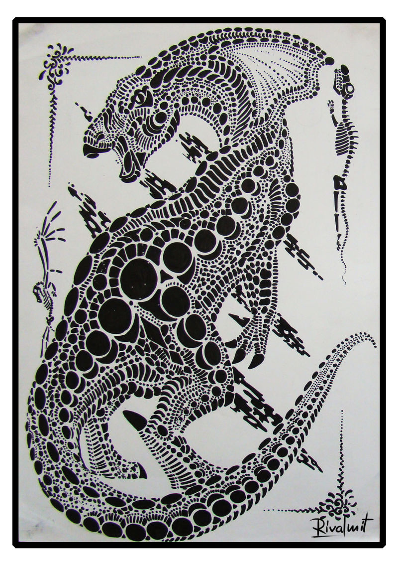 drawing cat dinosaur black&white markers Drawings Dots Drawings