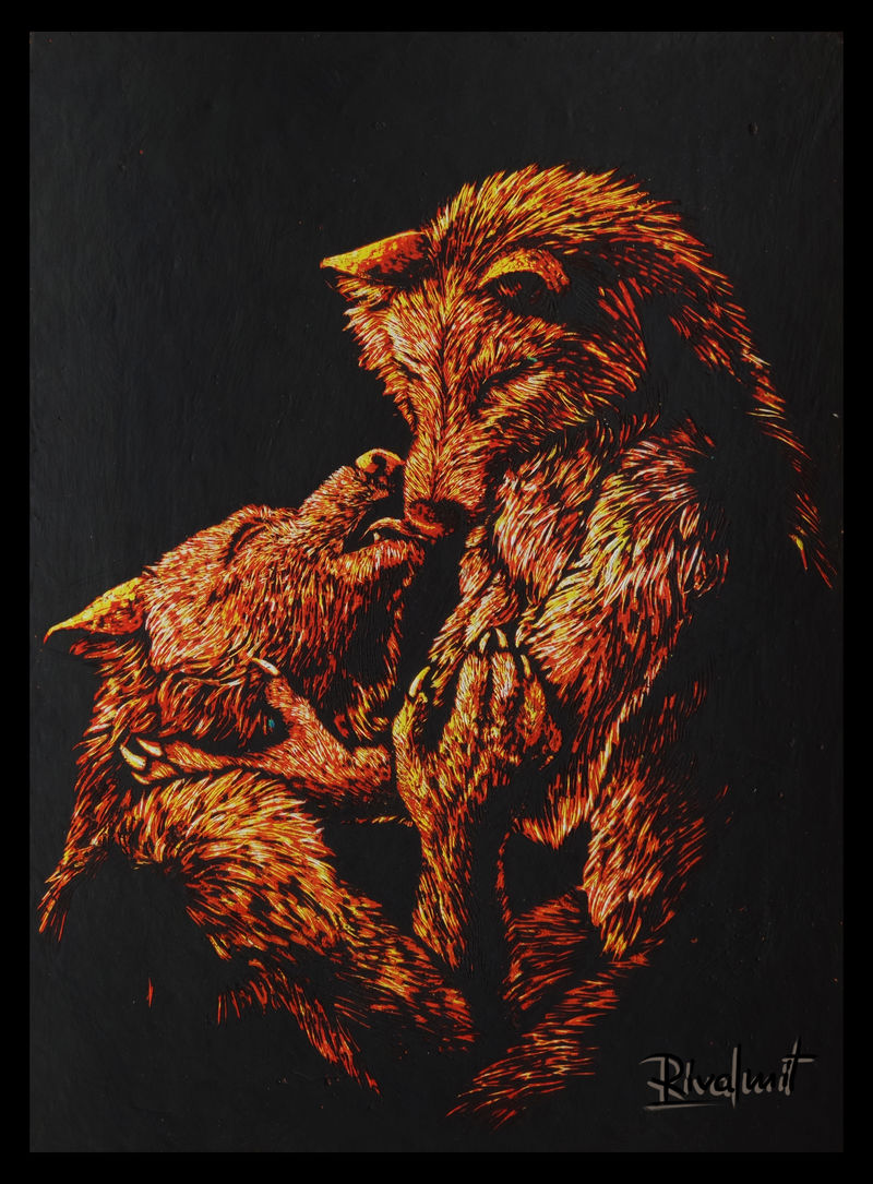 painting scratchboard wolf anthropomorphic Paintings Most intimate of moments Paintings