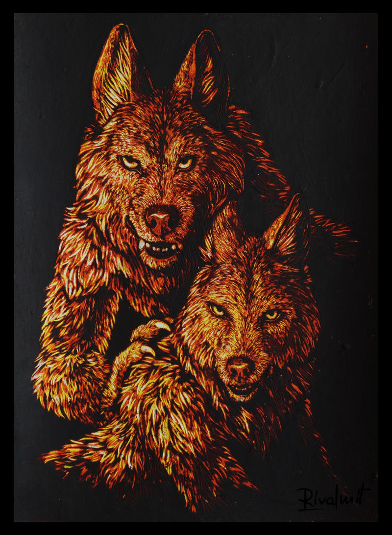 painting scratchboard wolf anthropomorphic Paintings Do you feel...welcome?  Paintings