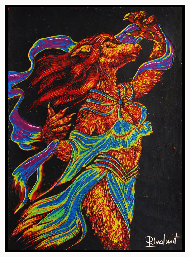 painting scratchboard dog canine anthropomorphic Paintings In Trance Paintings