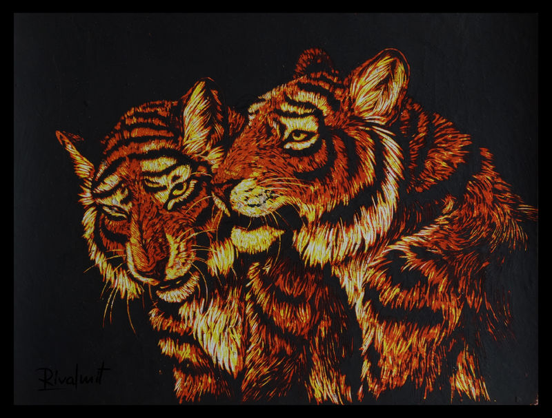 painting scratchboard tiger anthropomorphic Paintings Tiger pair Paintings