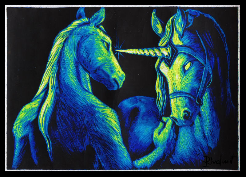 painting scratchboard horse unicorn anthropomorphic Paintings Trust Paintings