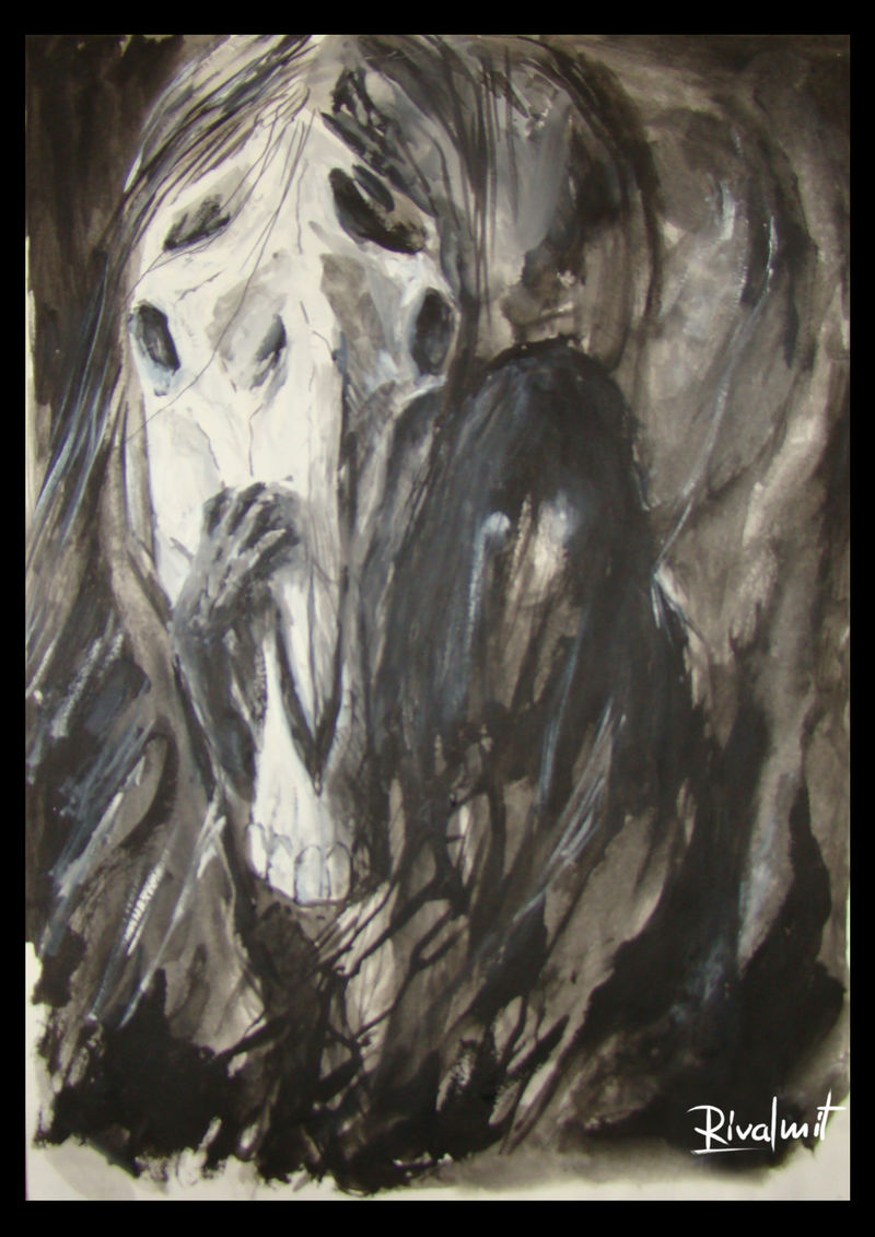 drawing acrylic horse death skull soul black&white Drawings Hiden Souls Drawings