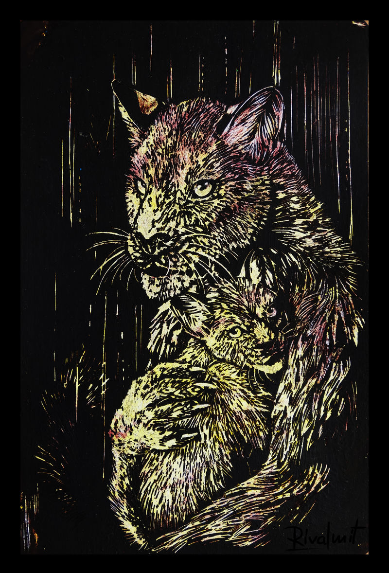 painting scratchboard leopard anthropomorphic Paintings Mother's touch  Paintings