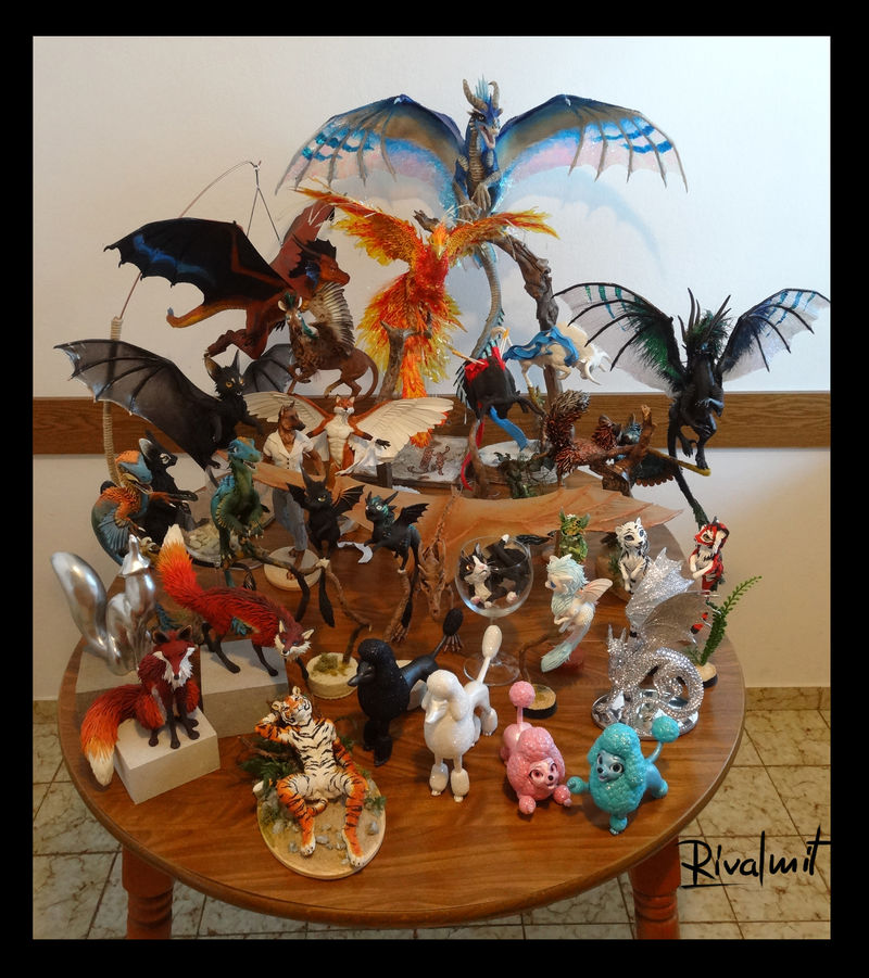 sculpture companion dog dragon cat poodle raptor phoenix bull deer batkitty fox tiger diamond skull Sculptures Group photo Sculptures