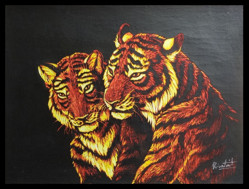 painting tiger scratchboard anthropomorphic Paintings  Tigers together Paintings