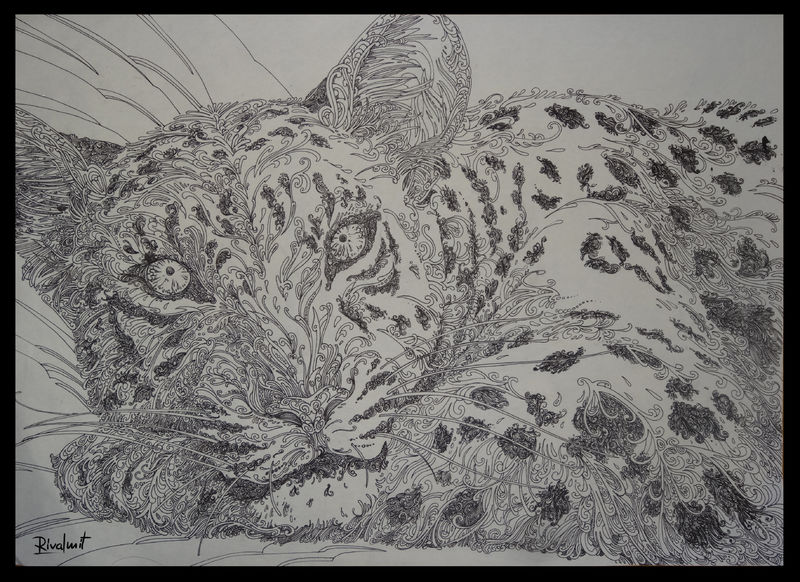 drawing leopard lineart gel pen Drawings leopard lines Drawings
