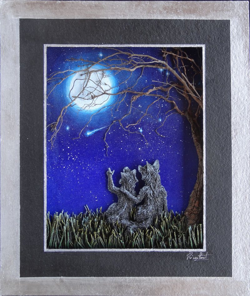 3d painting acrylic fox anthropomorphic Paintings stargazing Paintings