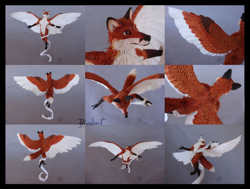 sculpture fox anthropomorphic Sculptures Winged fox  Sculptures