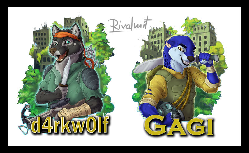 digital digital drawing badge wolf otter anthropomorphic Digital Drawings badges Digital Drawings