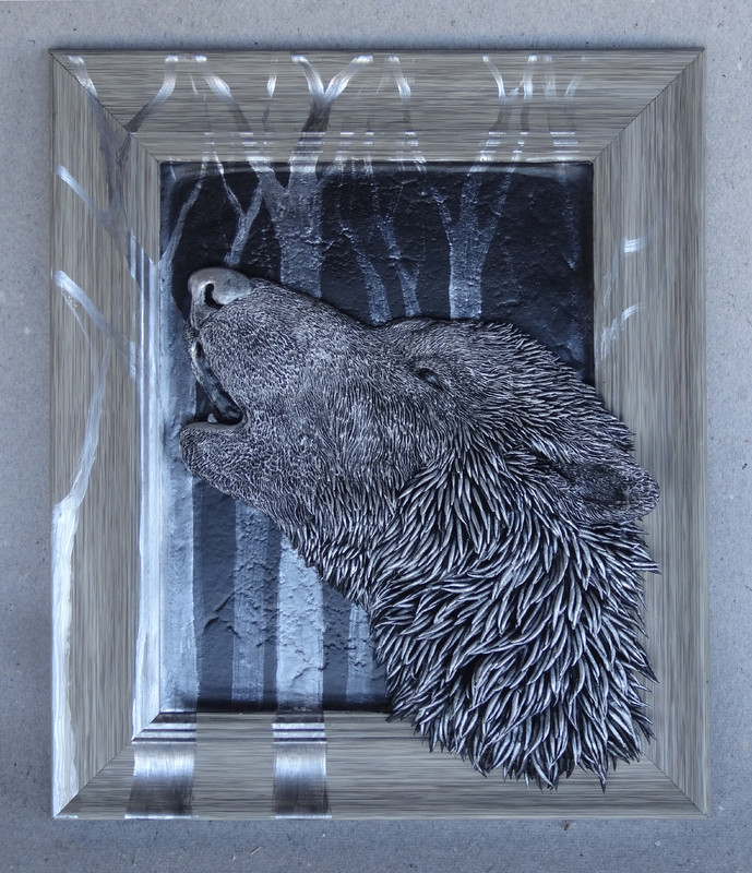 3d painting wolf Howling  wolf, song of the night
