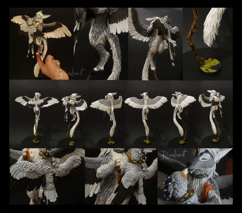 sculpture companion secretary bird monkey anthropomorphic twin sculpture Sculptures Secretary & drake  Companions Sculptures