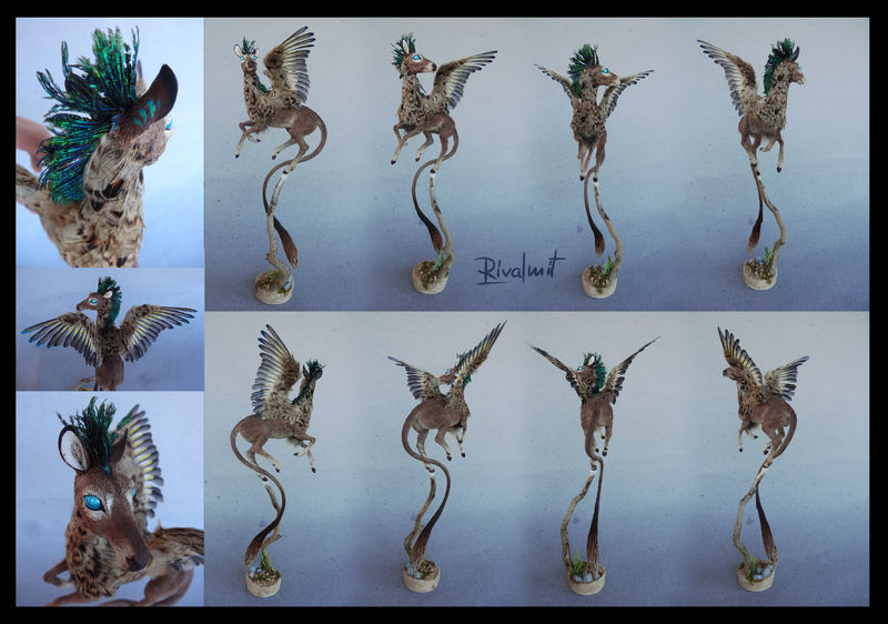 sculpture deer companion eurofurence mixed media Sculptures Feathered deer Companion  Sculptures