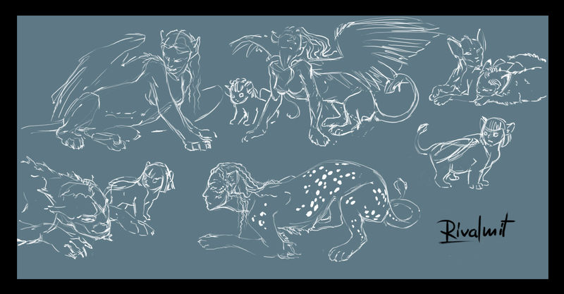 drawing sketches sphinx lion owl mythology Drawings Sketch dump Drawings