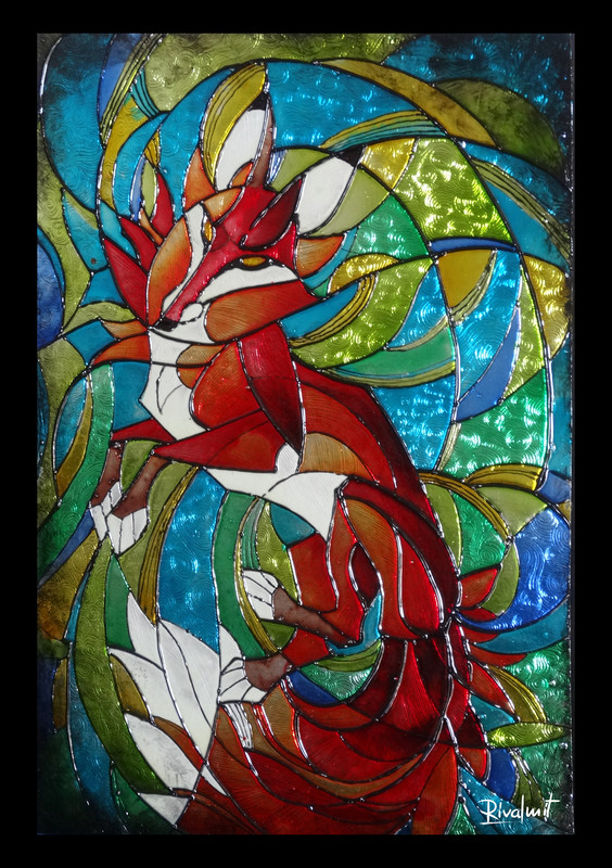 fox painting vitra stained glass  Fox