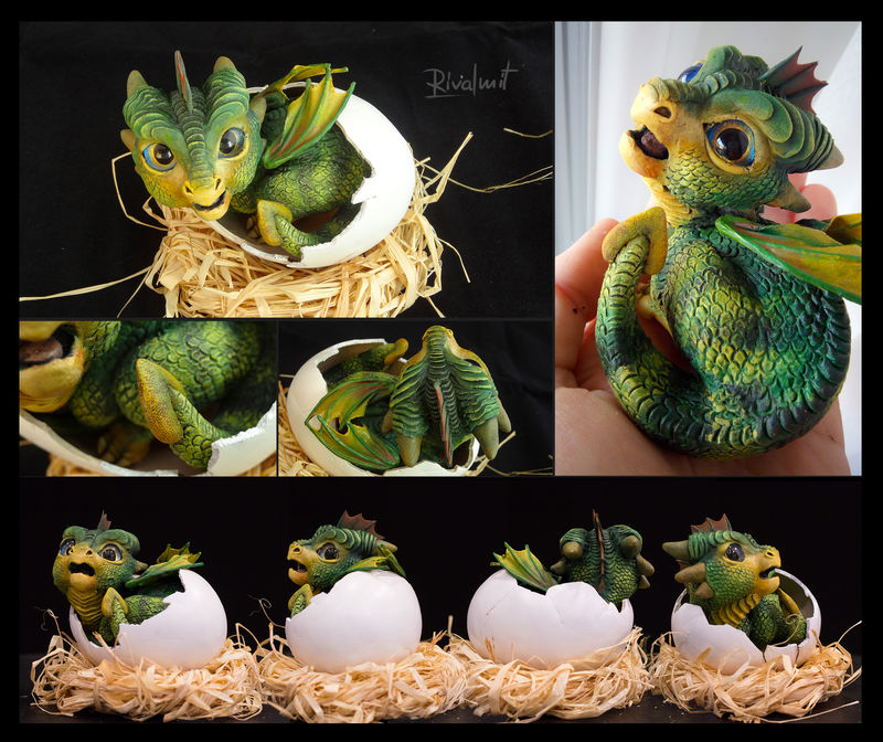 Breaking the shell dragon baby sculpture