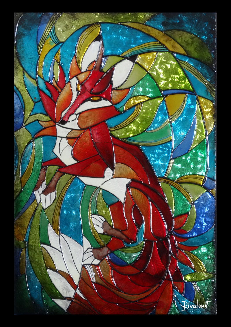 fox painting vitra stained glass Paintings  Fox