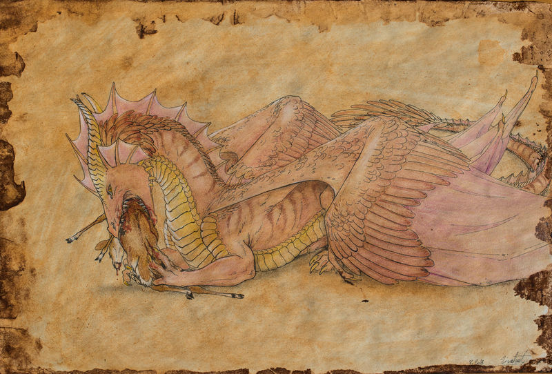 drawing dragon blood lineart watercolour Drawings The hunt Drawings