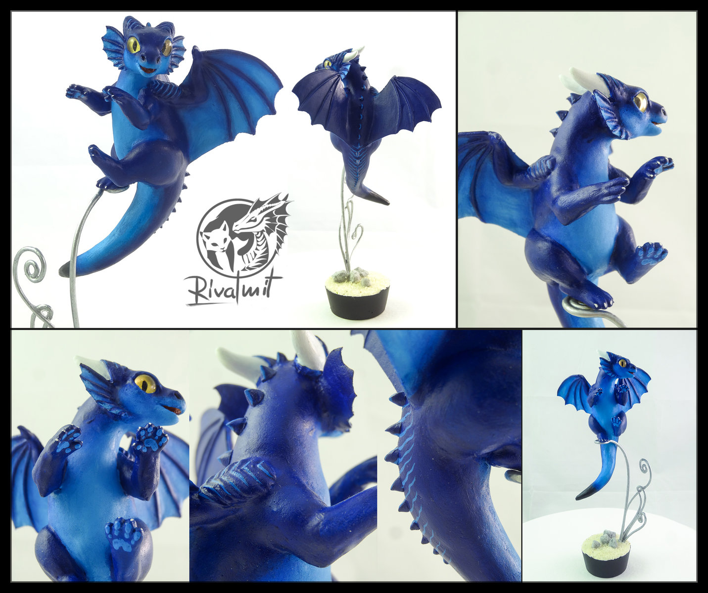 companion commission sculpture dragon blue Cod Companion