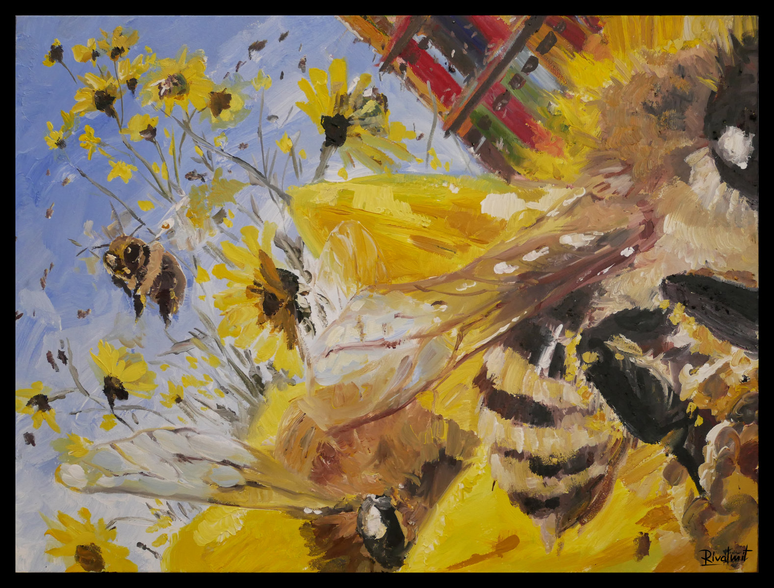 painting acrylic abstract bee