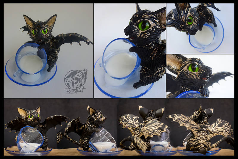sculpture batkitty cat Sculptures Spilt milk: Batkitty #11 Rare dominant gold mutation Sculptures