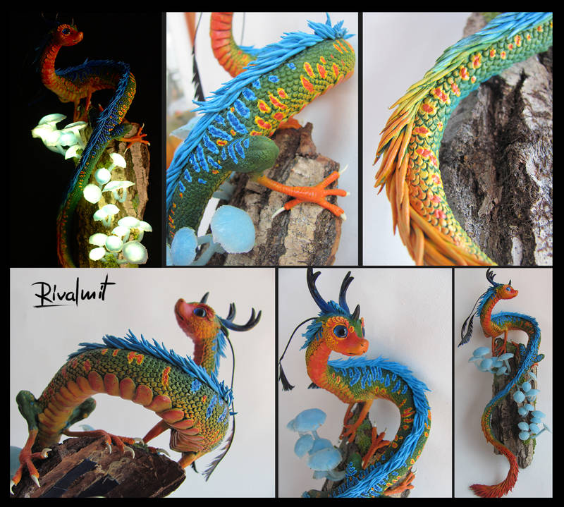sculpture dragon lights bioluminescent Sculptures Mystery from the depths of the bioluminescent Forest Sculptures