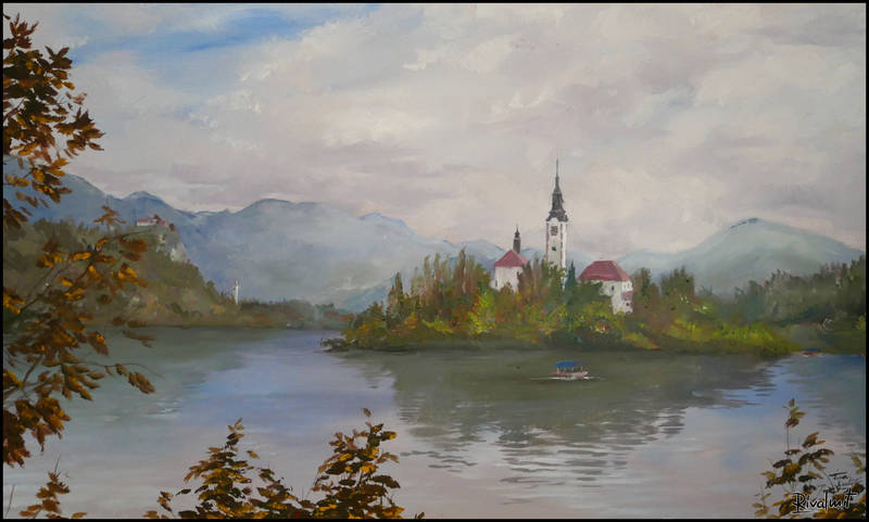 painting acrylic bled slovenia Paintings Bled Paintings