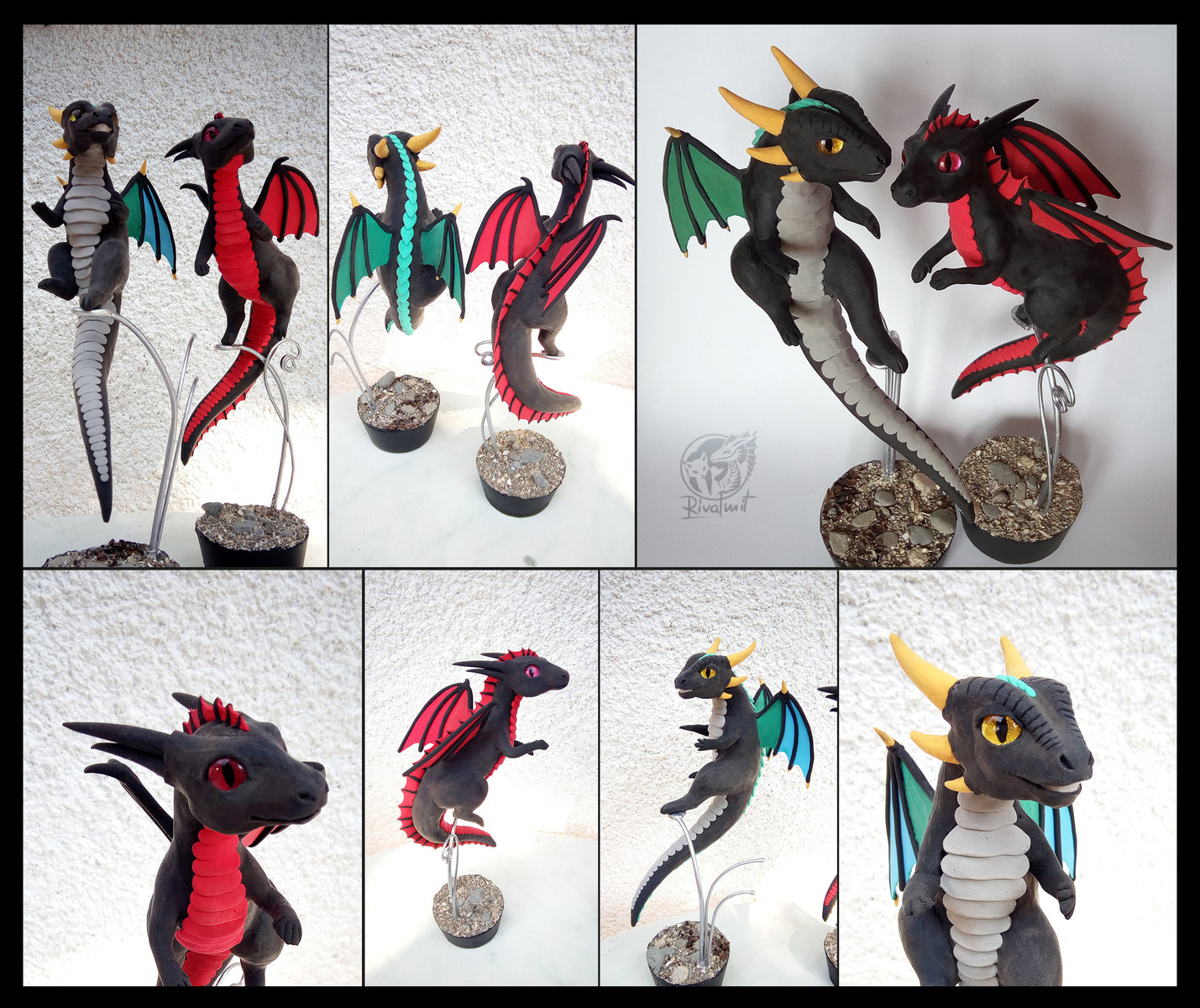 sculpture twin sculpture balaning companion dragon Birthday dragons companion commission