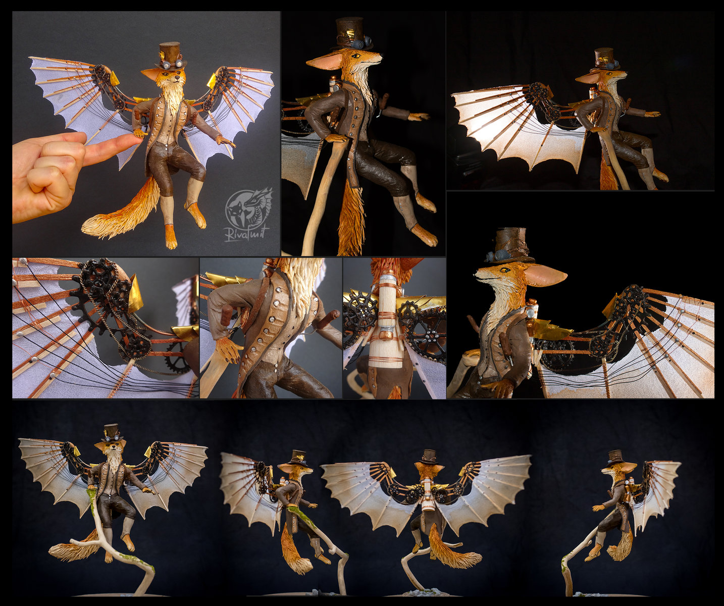sculpture companion fox anthro anthropomorphic balaning steampunk Arcanum - A dream of wingless: Foxes with Flying Machines