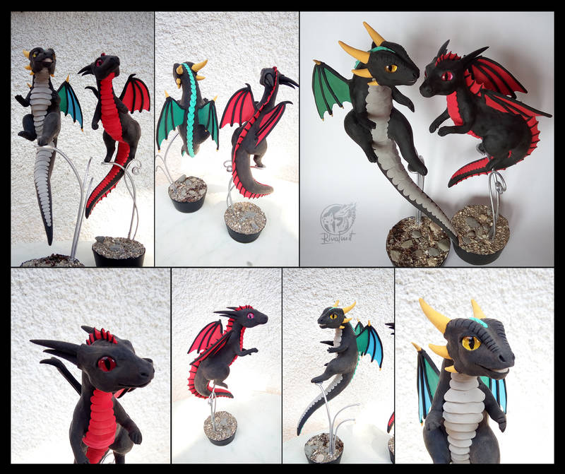 Birthday dragons companion commission sculpture twin sculpture balaning companion dragon
