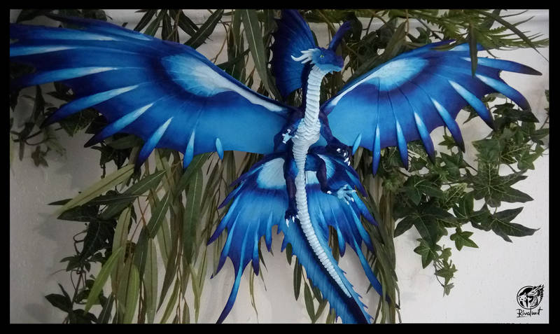 dragon sculpture art traditional blue Sculptures Hadopelagic - The blue dragon of the deep sea Sculptures